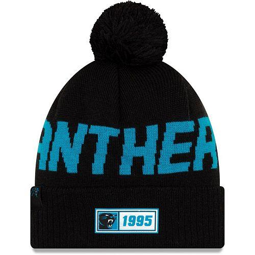 Men's New Era Black Carolina Panthers 2019 NFL Sideline Road Reverse Sport Knit Hat
