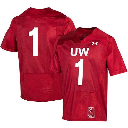 Men's Under Armour #1 Red Wisconsin Badgers College Football 150th Anniversary Replica Jersey