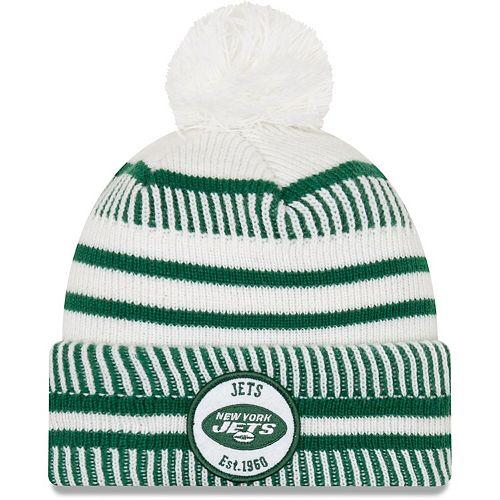 Men's New Era White/Green New York Jets 2019 NFL Sideline Home Reverse Sport Knit Hat