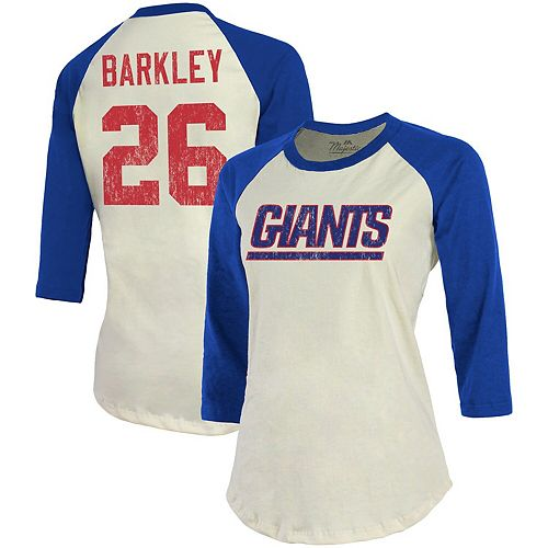 Saquon Barkley New York Giants Majestic Threads Women's Vintage Inspired Player Name & Number 3/4-Sleeve Raglan T-Shirt - Cream/Royal