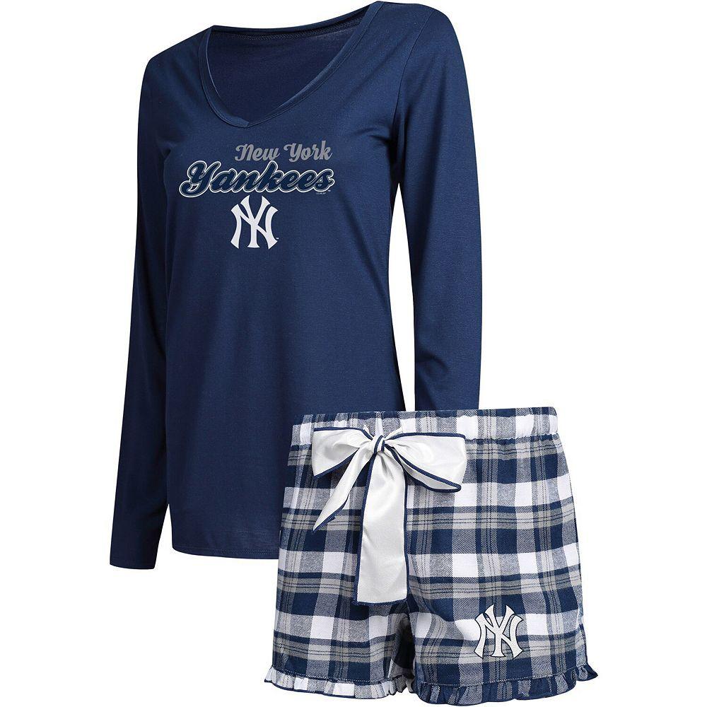 Women's Concepts Sport Navy/Gray New York Yankees Piedmont Long Sleeve V-Neck T-Shirt and Shorts Sleep Set