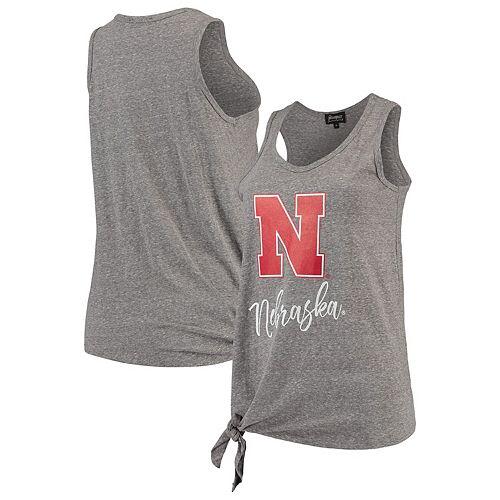 Nebraska Cornhuskers Women's Tied and True Side Tie Tri-Blend Tank Top - Heathered Gray