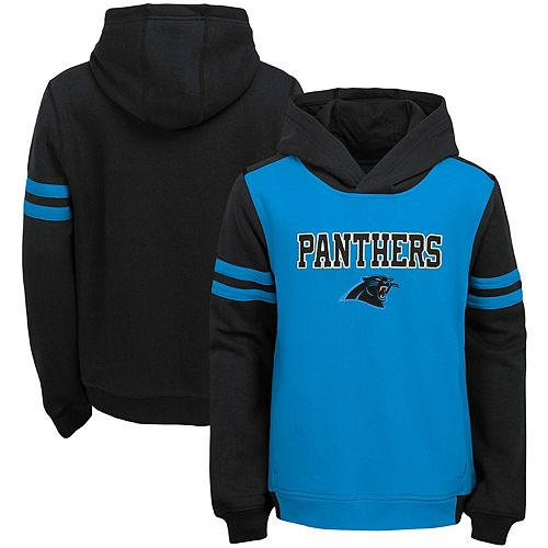 Youth Blue Carolina Panthers Retro Colorblock Pullover Hoodie