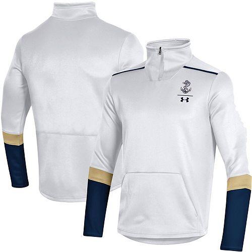 Men's Under Armour White Navy Midshipmen Logo Quarter-Zip Jacket