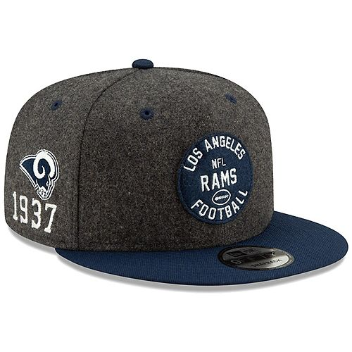 Men's New Era Heather Charcoal/Navy Los Angeles Rams 2019 NFL Sideline Home Official Helmet Logo 9FIFTY 1930s Snapback Adjustable Hat