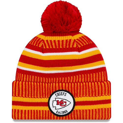 Youth New Era Red/Yellow Kansas City Chiefs 2019 NFL Sideline Home Sport Knit Hat