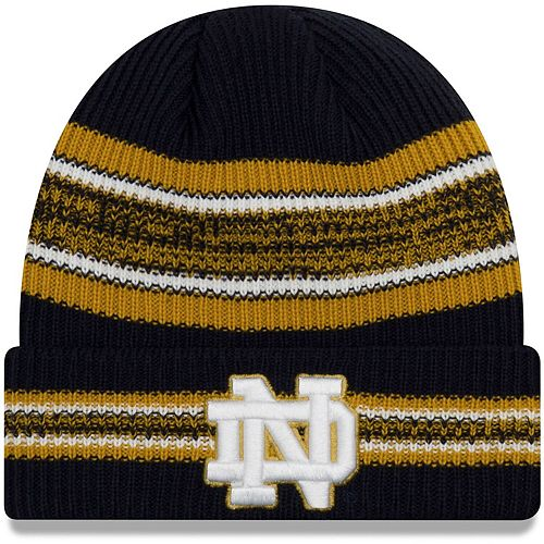Men's New Era Navy Notre Dame Fighting Irish Vintage Stripe Cuffed Knit Hat