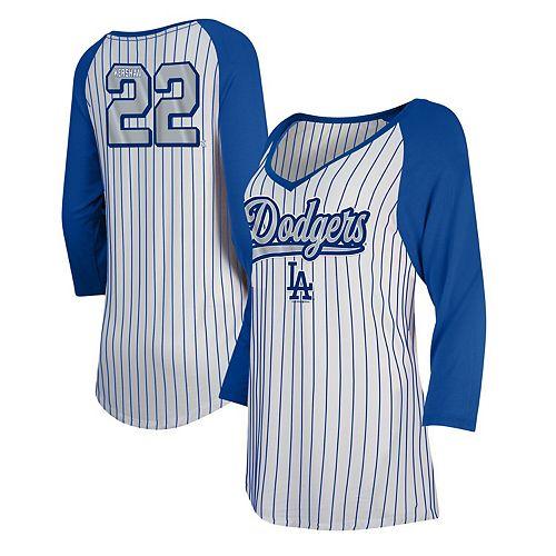 Clayton Kershaw Women's 5th & Ocean by New Era White/Royal Los Angeles Dodgers Player Pinstripe Raglan 3/4-Sleeve T-Shirt