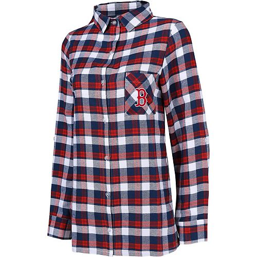 Women's Concepts Sport Navy/Red Boston Red Sox Plus Size Piedmont Flannel Nightshirt