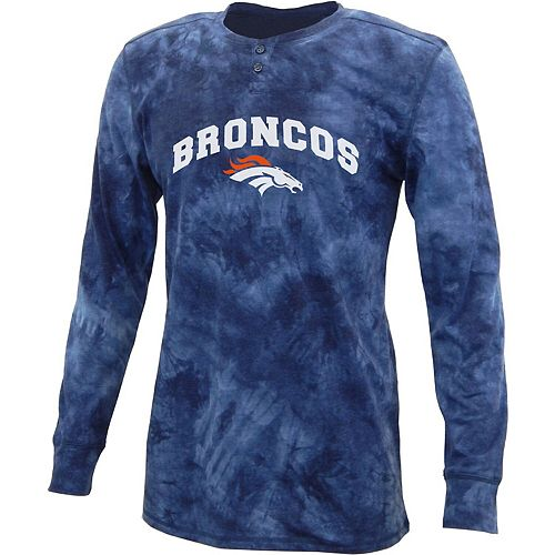 Men's Concepts Sport Navy Denver Broncos Altar Tie-Dye Henley Long Sleeve T-Shirt