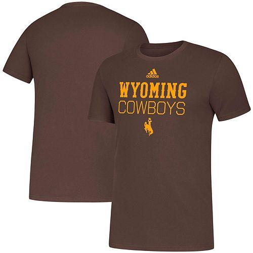 Men's adidas Brown Wyoming Cowboys Locker Stacked Amplifier T-Shirt