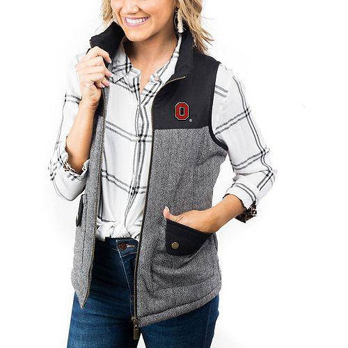 Women's Black Ohio State Buckeyes Prep For It Herringbone Knit Full-Zip Vest