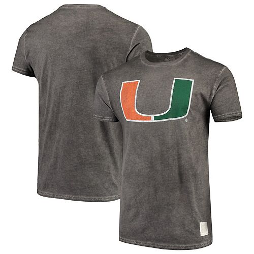 Men's Original Retro Brand Black Miami Hurricanes Vintage School Logo Oil Wash T-Shirt