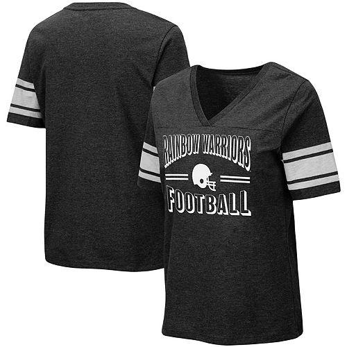 Women's Colosseum Black Hawaii Warriors Blue Blood Football V-Neck T-Shirt