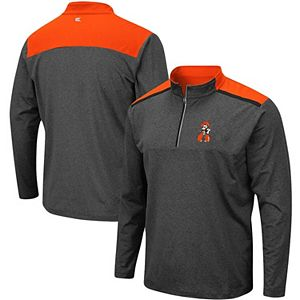 Men's Colosseum Heathered Charcoal Oklahoma State Cowboys Big & Tall Snowball Quarter-Zip Pullover Jacket
