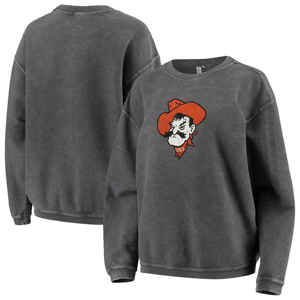Women's chicka-d Charcoal Oklahoma State Cowboys Corded Corduroy Crewneck Pullover Sweatshirt