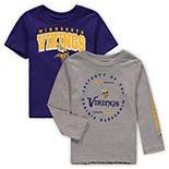 Toddler Purple/Heathered Gray Minnesota Vikings Club Short Sleeve & Long Sleeve T-Shirt Combo Pack