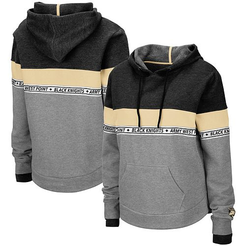 Women's Colosseum Heathered Gray Army Black Knights Hobbes Woven Tape Pullover Hoodie