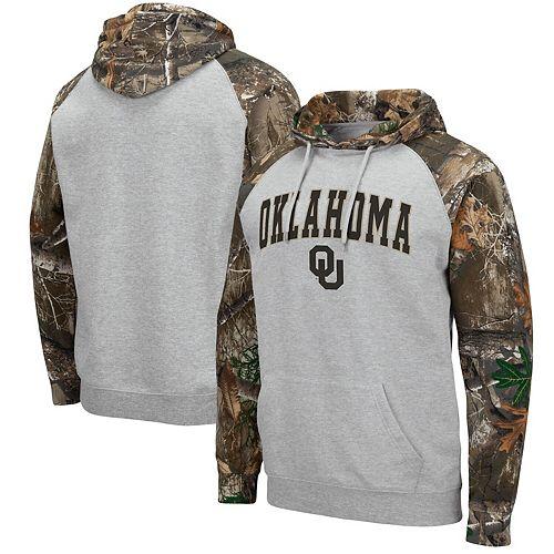 Men's Colosseum Heathered Gray/Realtree Camo Oklahoma Sooners Arch & Logo 2.0 Raglan Pullover Hoodie