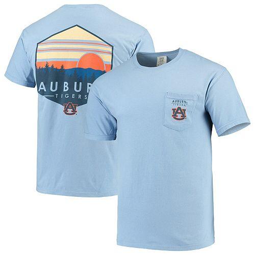 Men's Blue Auburn Tigers Landscape Shield Comfort Colors Pocket T-Shirt