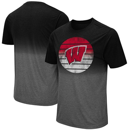 Men's Colosseum Black Wisconsin Badgers Fancy Walking Dip Dye T-Shirt