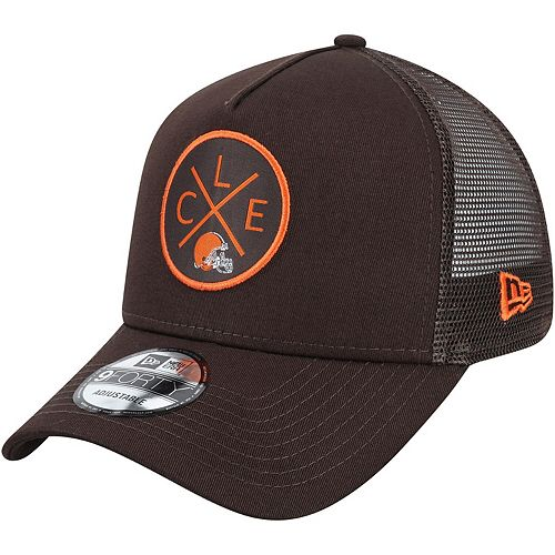 Men's New Era Brown Cleveland Browns Quad A-Frame 9FORTY Trucker Adjustable Hat