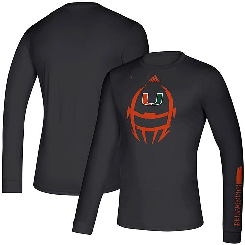 Men's adidas Black Miami Hurricanes 2019 Sideline Locker Helmet Creator climalite Long Sleeve T-Shirt