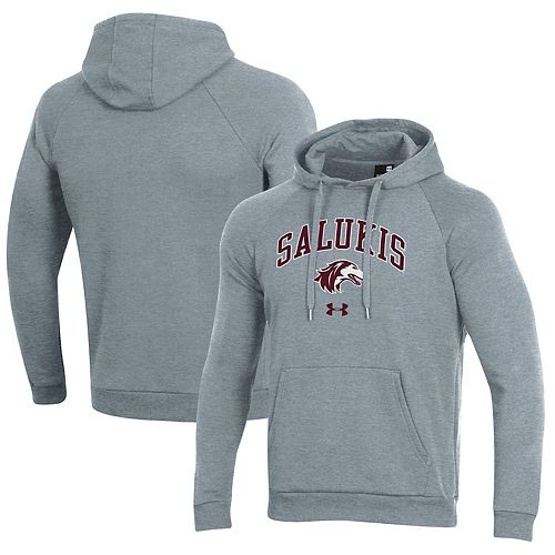 Men's Under Armour Heathered Gray Southern Illinois Salukis Arched Pullover Hoodie