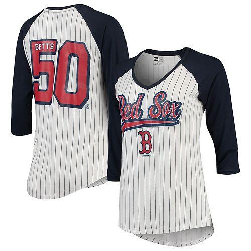 Mookie Betts Women's 5th & Ocean by New Era White/Navy Boston Red Sox Player Pinstripe Raglan 3/4-Sleeve T-Shirt