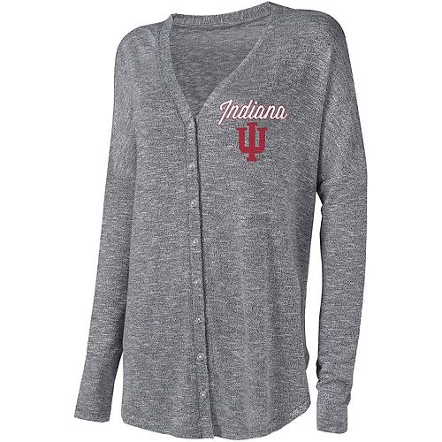 Women's Concepts Sport Gray Indiana Hoosiers Knit Button-Up Sweater