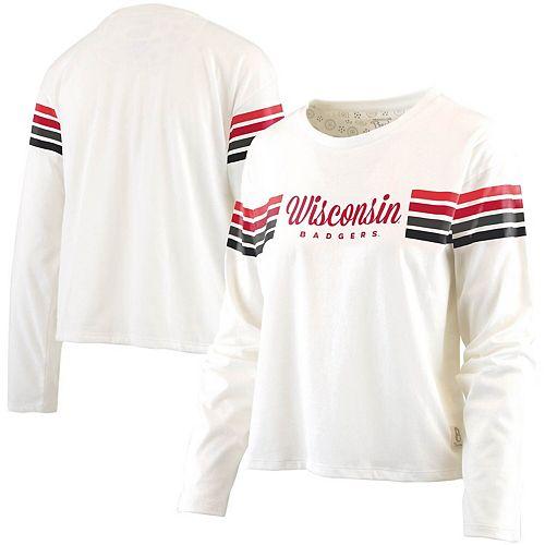 Women's Pressbox White Wisconsin Badgers Sandra Shoulder Stripes Long Sleeve T-Shirt