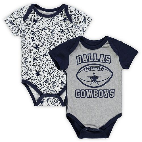 Newborn & Infant Heathered Gray/White Dallas Cowboys Goodwin Two-Pack Bodysuit Set