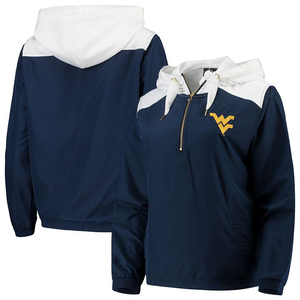 Women's Navy/White West Virginia Mountaineers Colorblock Anorak Quarter-Zip Pullover Jacket