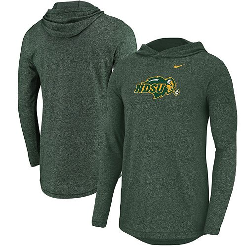 Men's Nike Heathered Green NDSU Bison Marled Long Sleeve Hooded T-Shirt