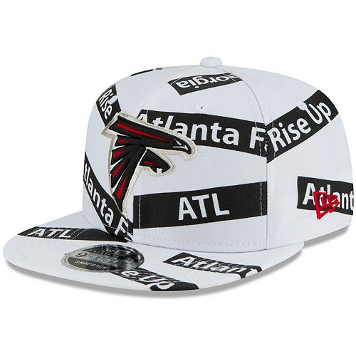 Men's New Era White Atlanta Falcons Team Taped 9FIFTY Adjustable Snapback Hat