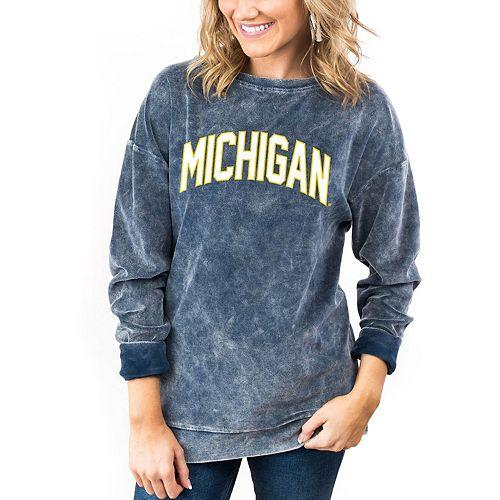 Women's Navy Michigan Wolverines Now & Zen Velour Pullover Sweatshirt