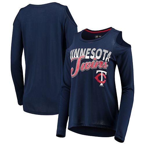 Women's G-III 4Her by Carl Banks Navy Minnesota Twins Crackerjack Cold Shoulder Long Sleeve T-Shirt