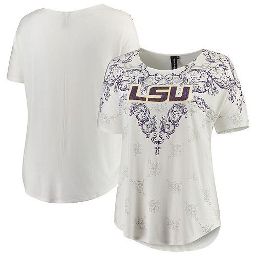 Women's White LSU Tigers Plus Size Victorian Print Dolman T-Shirt