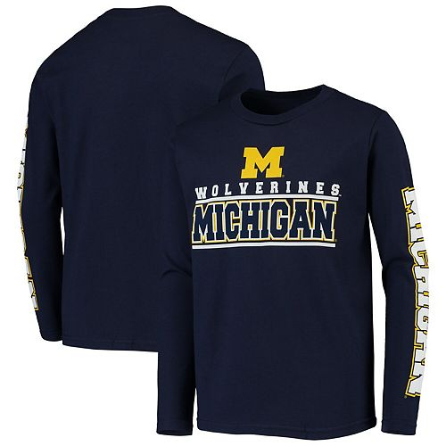 Youth Navy Michigan Wolverines Transition Two-Hit Long Sleeve T-Shirt