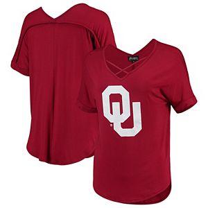 Women's Crimson Oklahoma Sooners Goal Getter Cross Neck T-Shirt