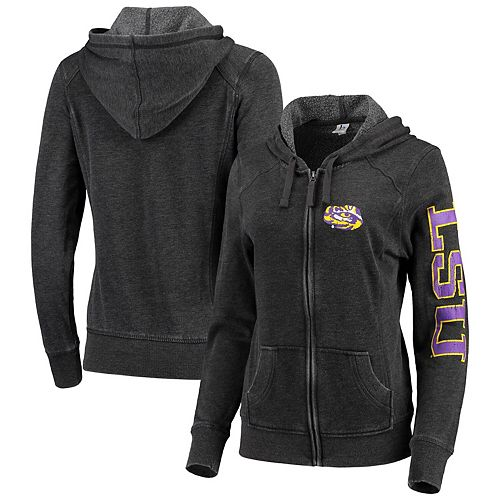 Women's Heathered Charcoal LSU Tigers Rally Enzyme Washed Full-Zip Hoodie