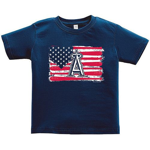 Toddler Soft as a Grape Navy Los Angeles Angels Stars & Stripes Americana T-Shirt