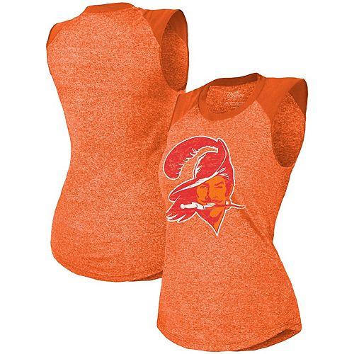 Women's Majestic Threads Orange Tampa Bay Buccaneers Retro Tri-Blend Raglan Muscle Tank Top