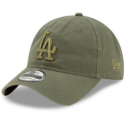 Men's New Era Olive Los Angeles Dodgers Tonal Core Classic Primary Logo 9TWENTY Adjustable Hat