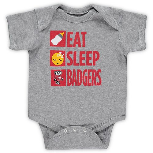 Infant Heathered Gray Wisconsin Badgers Daily Agenda Creeper
