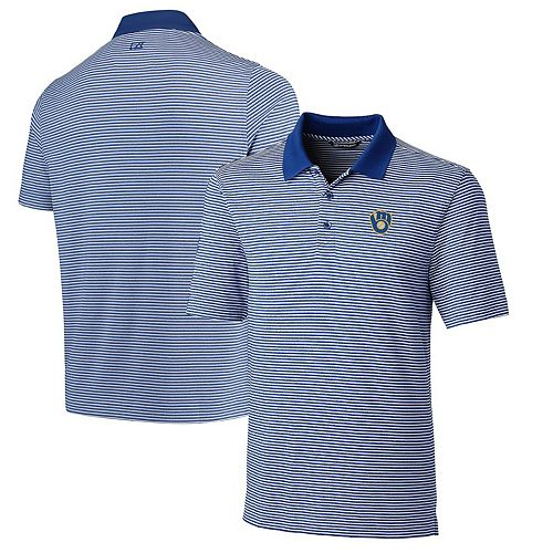 Men's Cutter & Buck Royal Milwaukee Brewers Cooperstown Collection Forge Tonal Stripe DryTec Polo