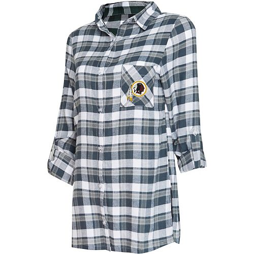 Women's Concepts Sport Charcoal/Gray Washington Redskins Piedmont Flannel Button-Up Long Sleeve Nightshirt