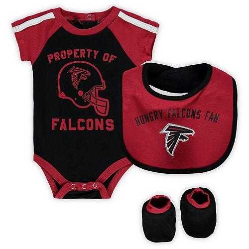Newborn & Infant Black/Red Atlanta Falcons Tackle Bodysuit, Bib & Booties Set