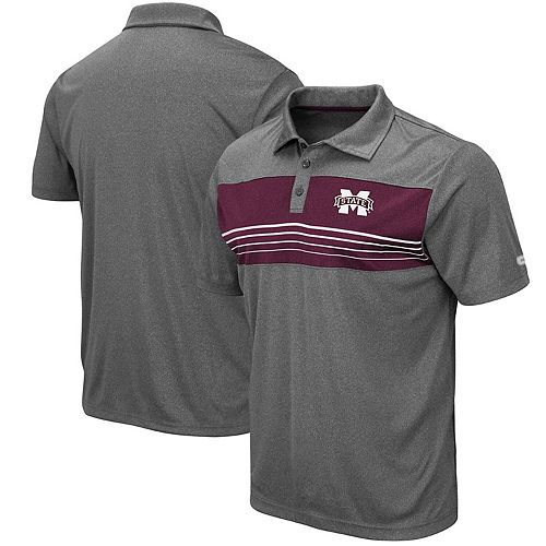 Men's Colosseum Heathered Charcoal Mississippi State Bulldogs Smithers Polo