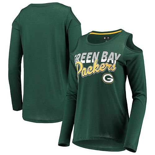 Women's G-III 4Her by Carl Banks Green Green Bay Packers Crackerjack Cold Shoulder Long Sleeve T-Shirt